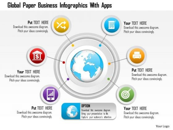 Business Diagram Global Paper Business Infographics With Apps Presentation Template
