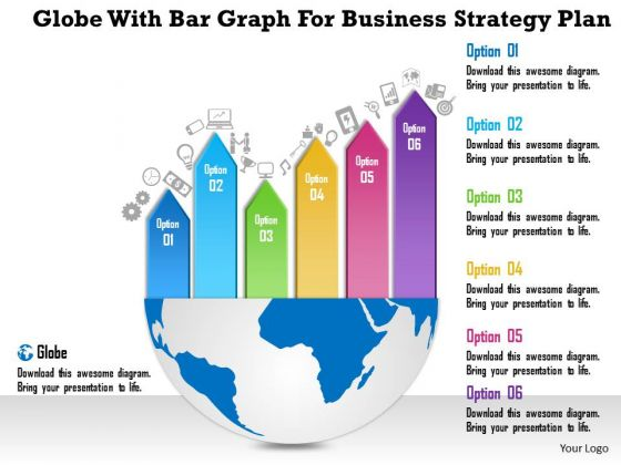 Business Diagram Globe With Bar Graph For Business Strategy Plan Presentation Template