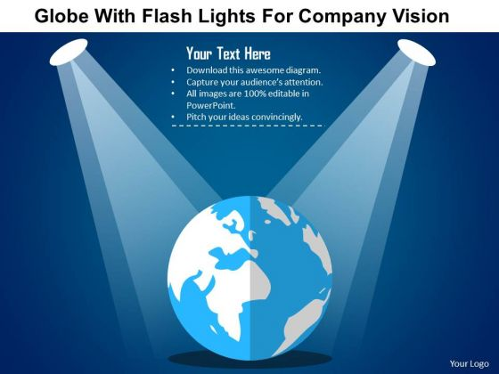 business diagram globe with flash lights for company vision, Presentation templates