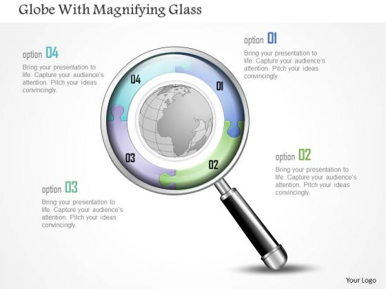 Business Diagram Globe With Magnifying Glass Presentation Template
