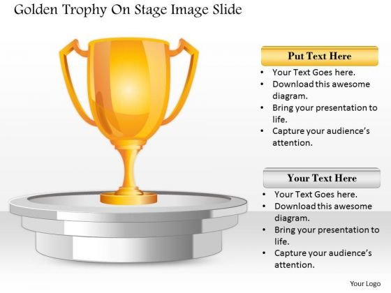 Business Diagram Golden Trophy On Stage Image Slide Presentation Template