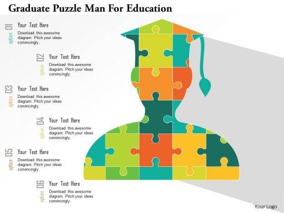 Business Diagram Graduate Puzzle Man For Education Presentation Template
