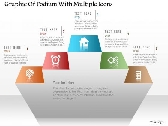 Business Diagram Graphic Of Podium With Multiple Icons PowerPoint Template