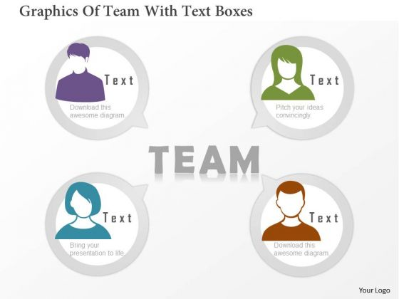 Business Diagram Graphics Of Team With Text Boxes PowerPoint Template