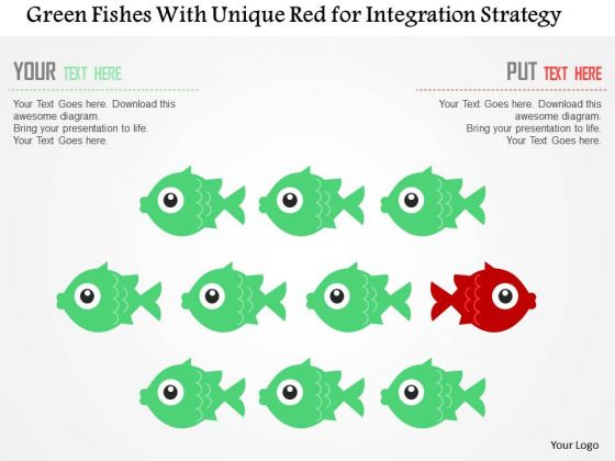 Business Diagram Green Fishes With Unique Red For Integration Strategy Presentation Template