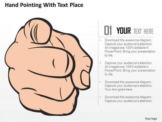Business Diagram Hand Pointing With Text Place Presentation Template
