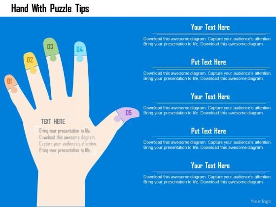 Business Diagram Hand With Puzzle Tips Presentation Template
