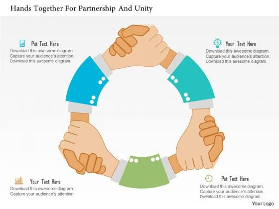 Business Diagram Hands Together For Partnership And Unity Presentation Template