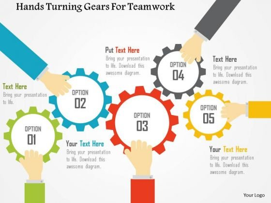 Business Diagram Hands Turning Gears For Teamwork Presentation Template