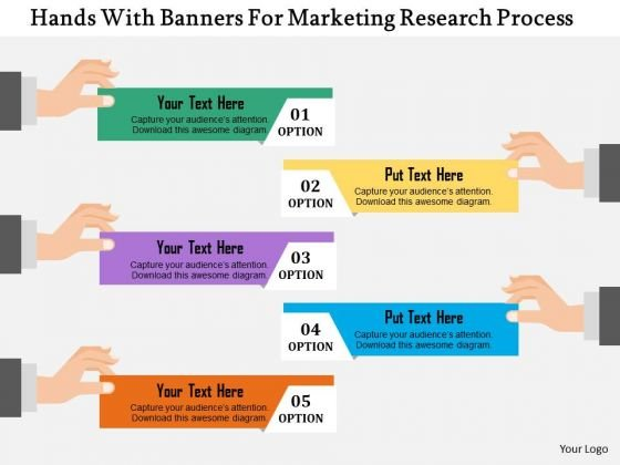 Business Diagram Hands With Banners For Marketing Research Process Presentation Template