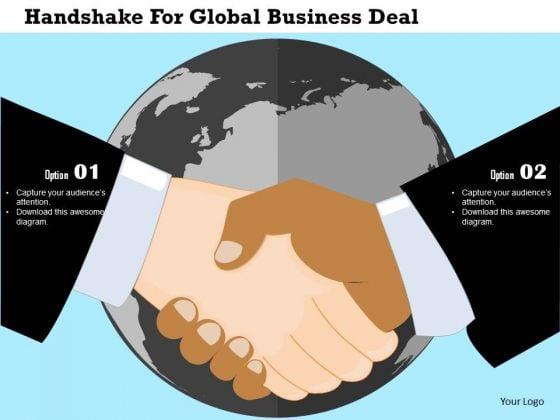 Business Diagram Handshake For Global Business Deal Presentation Template