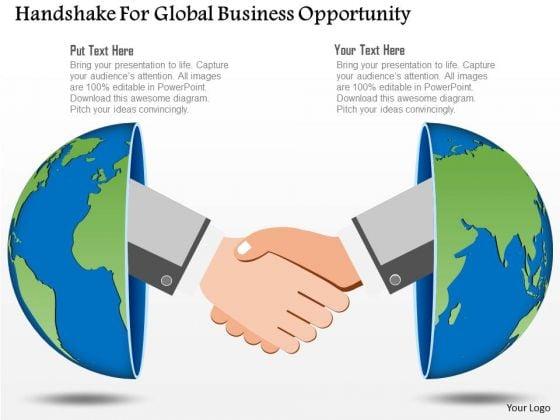Business Diagram Handshake For Global Business Opportunity Presentation Template