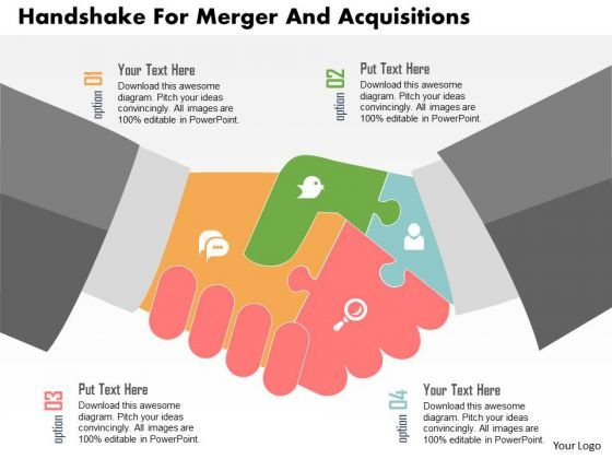 Business Diagram Handshake For Merger And Acquisitions Presentation Template