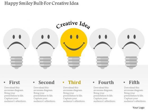 Business Diagram Happy Smiley Bulb For Creative Idea Presentation Template