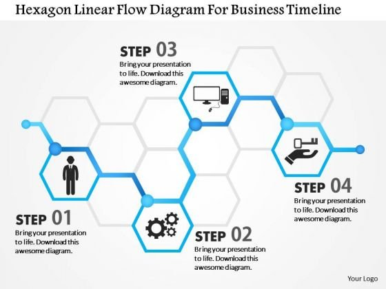 Business Diagram Hexagon Linear Flow Diagram For Business Timeline - Business timeline template
