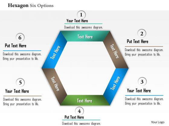 Business Diagram Hexagon Six Options Info Graphic Presentation Template