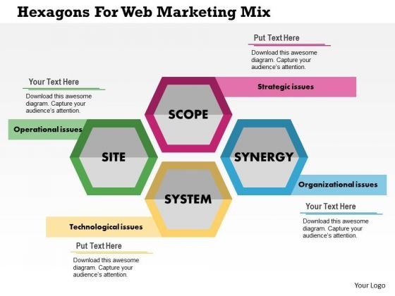 Business Diagram Hexagons For Web Marketing Mix Presentation Template