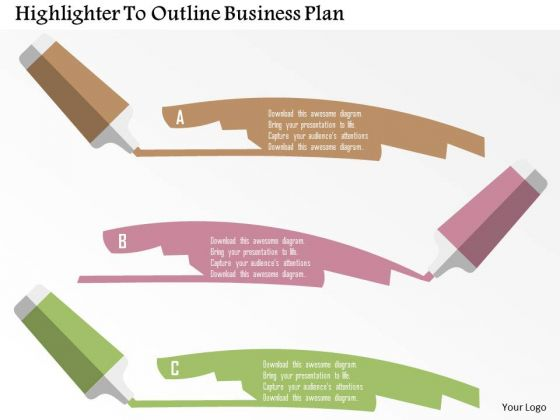 Business Diagram Highlighter To Outline Business Plan Presentation Template