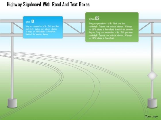 Business Diagram Highway Signboard With Road And Text Boxes PowerPoint Template