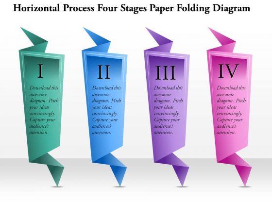 Business Diagram Horizontal Process Four Stages Paper Folding Diagram Presentation Template