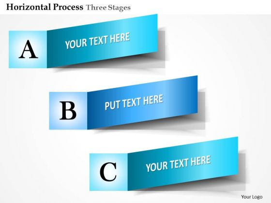 Business Diagram Horizontal Process Three Stages Info Graphic Presentation Template