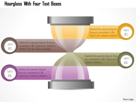 Business Diagram Hourglass With Four Text Boxes Presentation Template
