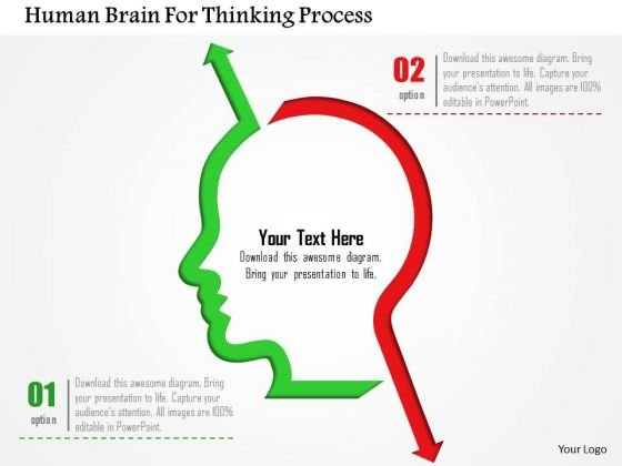 Business Diagram Human Brain For Thinking Process Presentation Template