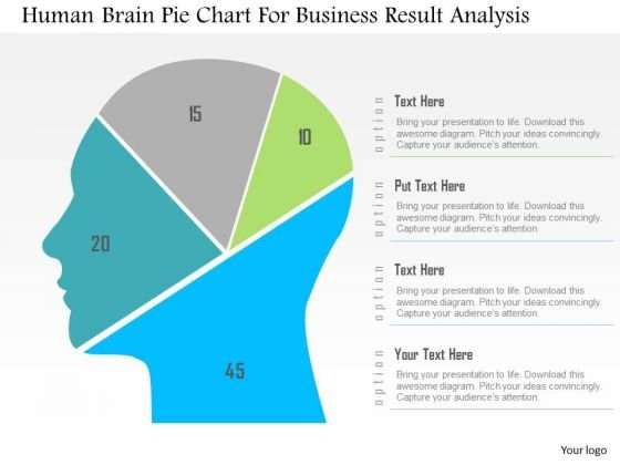 Business Diagram Human Brain Pie Chart For Business Result Analysis PowerPoint Slide