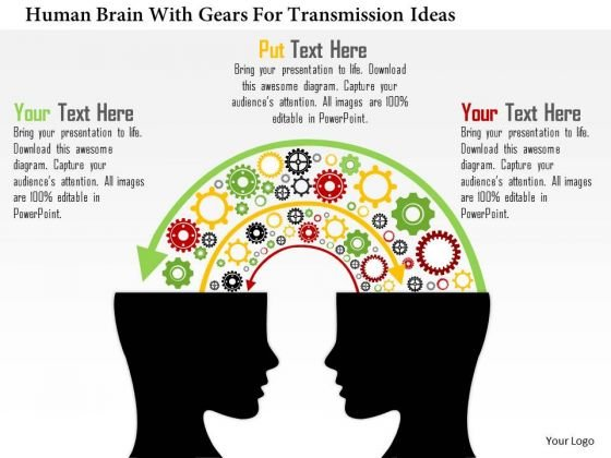 Business Diagram Human Brain With Gears For Transmission Ideas Presentation Template
