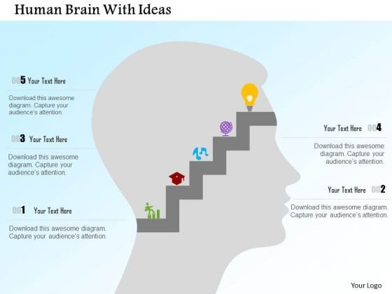 Business Diagram Human Brain With Ideas Presentation Template