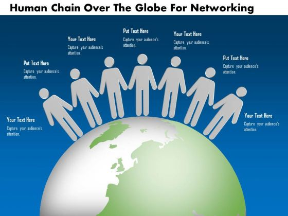 Business Diagram Human Chain Over The Globe For Networking
