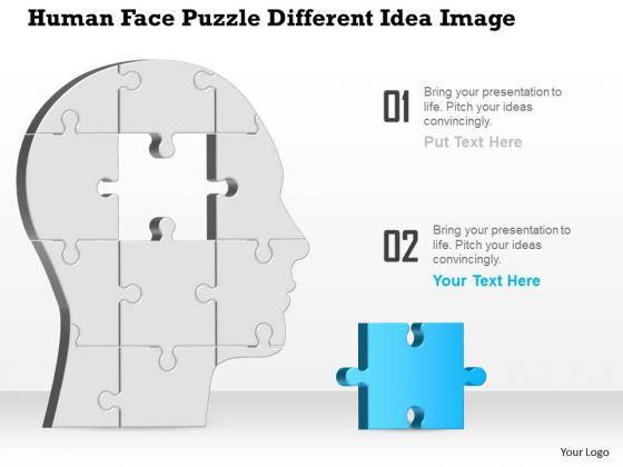 Business Diagram Human Face Puzzle Different Idea Image Presentation Template