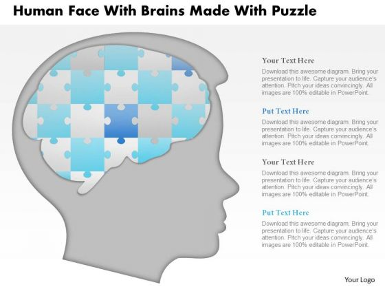Business Diagram Human Face With Brains Made With Puzzle Presentation Template