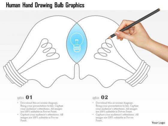 Business Diagram Human Hand Drawing Bulb Graphics Presentation Template