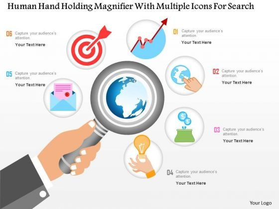 Business Diagram Human Hand Holding Magnifier With Multiple Icons For Data Search Ppt Template