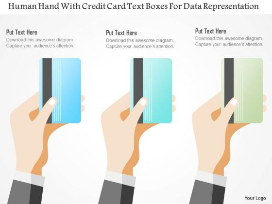 Business Diagram Human Hand With Credit Card Text Boxes For Data Representation Ppt Template