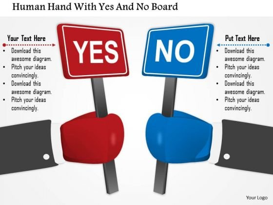 Business Diagram Human Hand With Yes And No Board Presentation Template