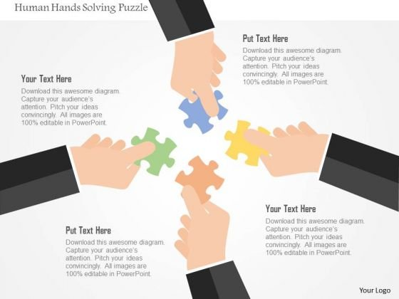 Business Diagram Human Hands Solving Puzzle Presentation Template