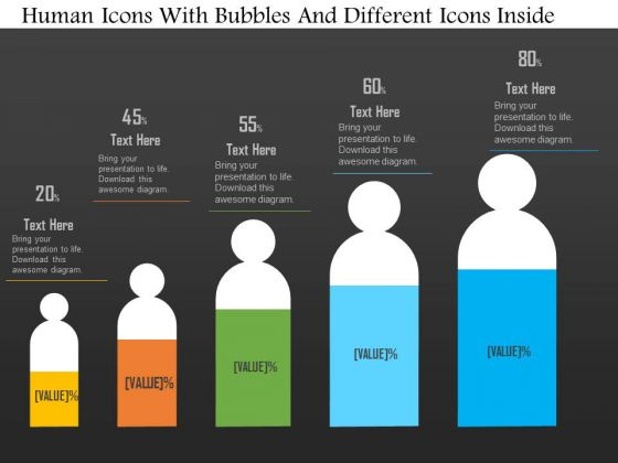 Business Diagram Human Icons With Bubbles And Different Icons Inside PowerPoint Slide