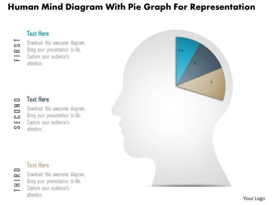 Business Diagram Human Mind Diagram With Pie Graph For Representation PowerPoint Slide