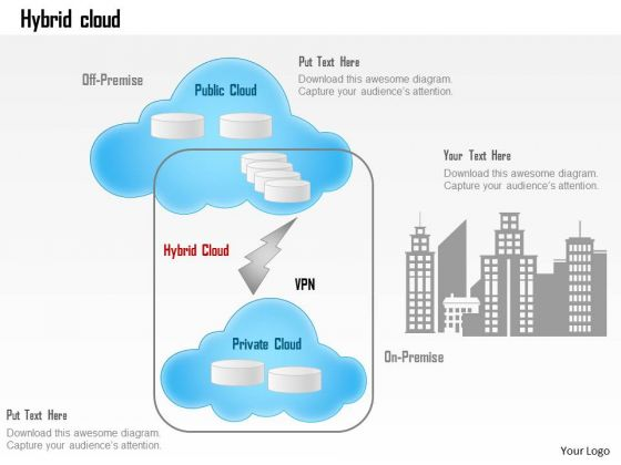 Business Diagram Hybrid Cloud Off Premise Public Cloud Office Connectivity Ppt Slide