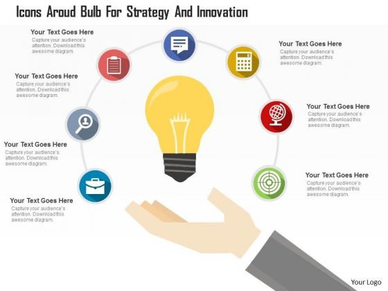 Business Diagram Icons Around Bulb For Strategy And Innovation Presentation Template