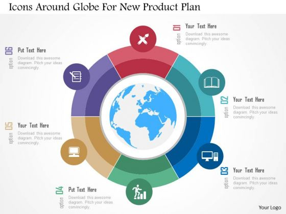 Business Diagram Icons Around Globe For New Product Plan