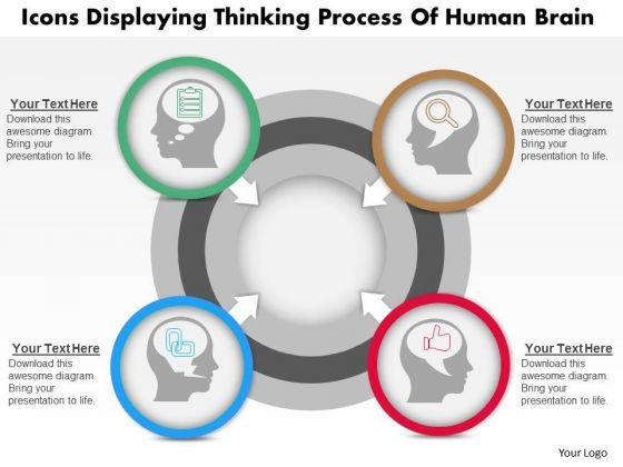 Business Diagram Icons Displaying Thinking Process Of Human Brain Presentation Template