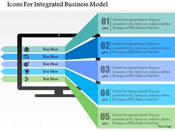 Business Diagram Icons For Integrated Business Model Presentation Template