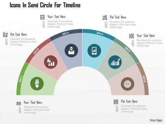 Business Diagram Icons In Semi Circle For Timeline Presentation Template
