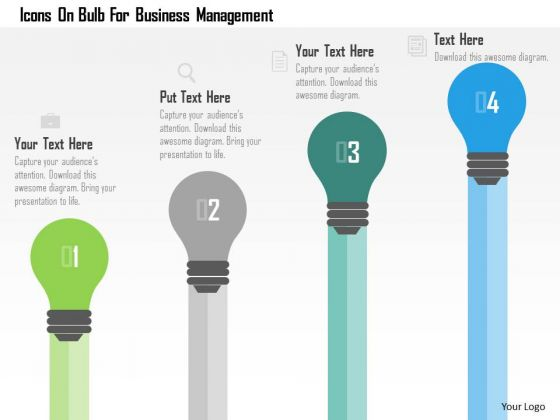 Business Diagram Icons On Bulb For Business Management Presentation Template