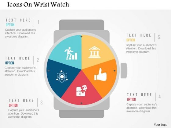 Business Diagram Icons On Wrist Watch Presentation Template