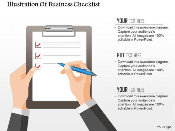 Business Diagram Illustration Of Business Checklist Presentation Template