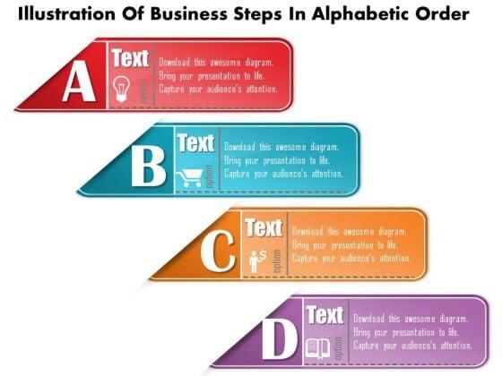 Business Diagram Illustration Of Business Steps In Alphabetic Order Presentation Template